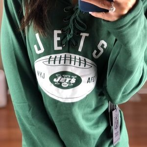 New York Jets Lace Up Jersey Style Sweater XL NFL